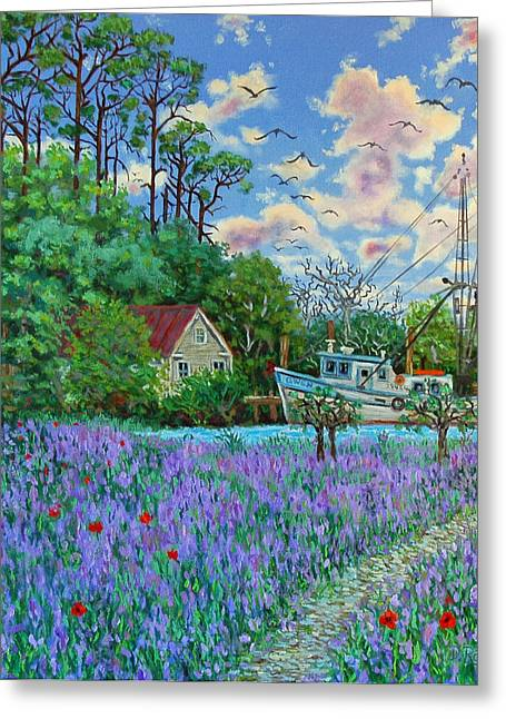 Greeting Card featuring the painting Lavender Field Next To The Creek by Dwain Ray