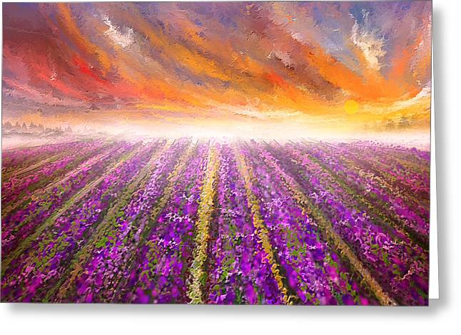 Lavender Field Painting - Impressionist Greeting Card by Lourry Legarde