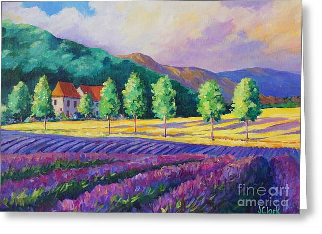 Lavender Fields In Provence Greeting Card by John Clark
