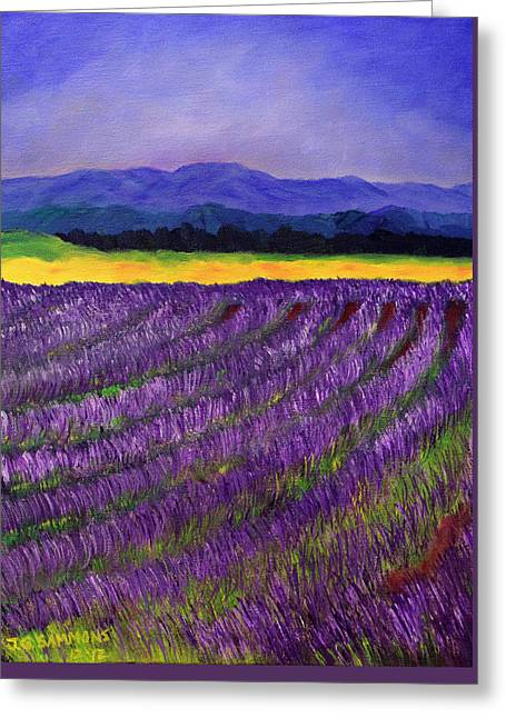 Greeting Card featuring the painting Lavender Fields by Janet Greer Sammons