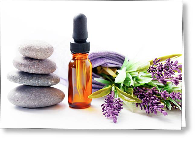 Lavender Flowers And Aromatherapy Oil Greeting Card by Wladimir Bulgar