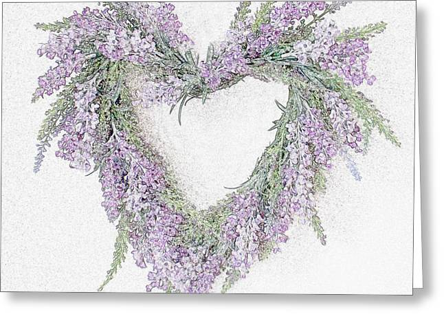Lavender Heart Greeting Card by Sharon Lisa Clarke