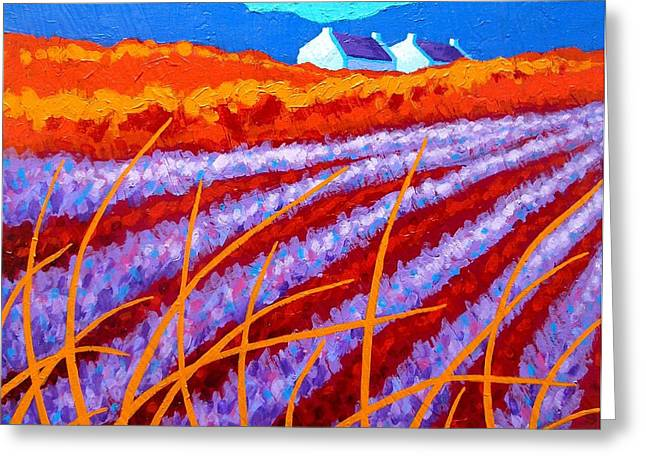 Orange Posters Greeting Cards - Lavender Meadow Greeting Card by John  Nolan