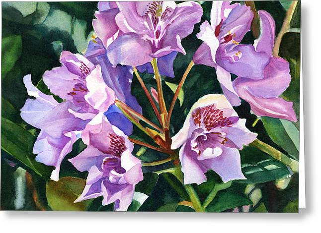 Lavender Rhododendron Square Design Greeting Card by Sharon Freeman