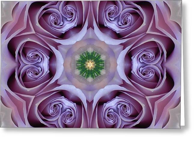 Lavender Rose Mandala Greeting Card
