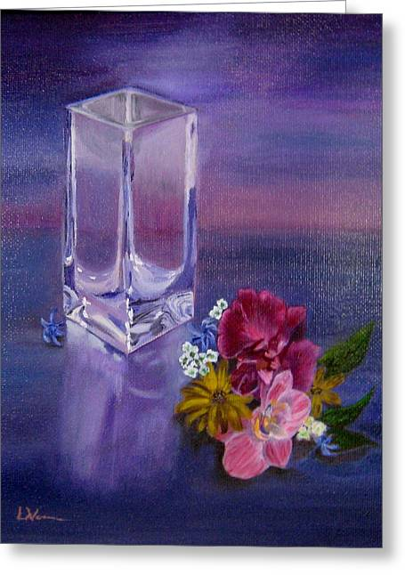 Greeting Card featuring the painting Lavender Vase by LaVonne Hand