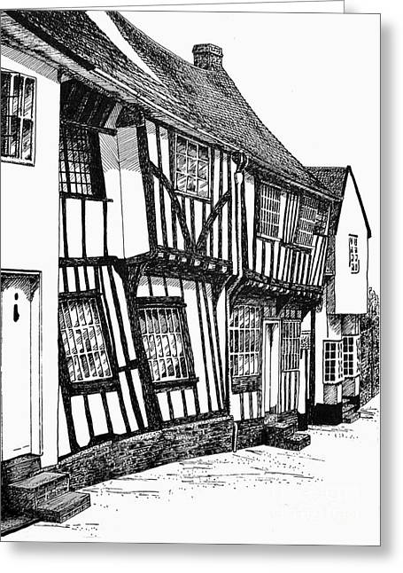 Lavenham Timber Greeting Card by Shirley Miller