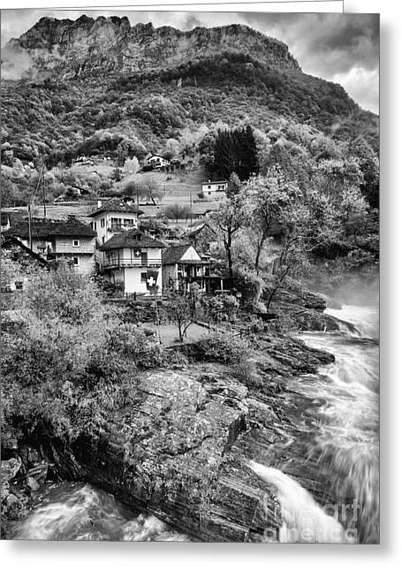 Lavertezzo Ticino Bw Greeting Card by Timothy Hacker