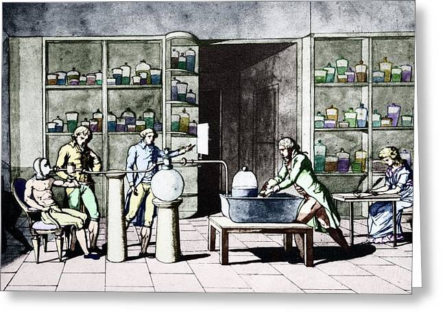 Lavoisier Respiration Experiment Greeting Card by Science Photo Library