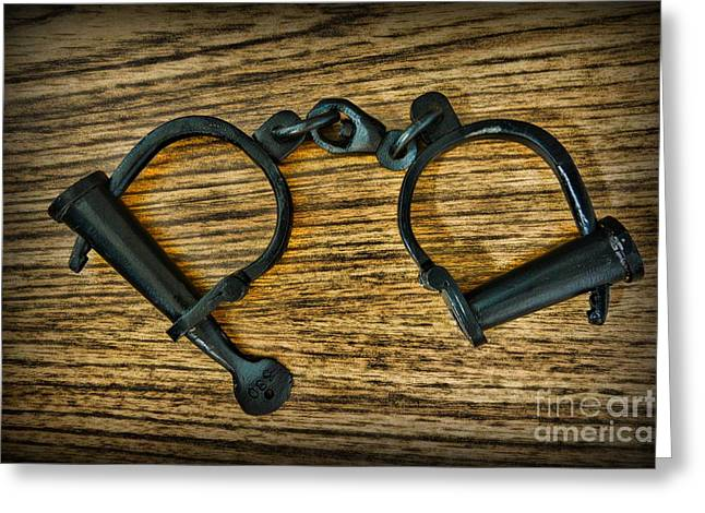 Law Enforcement - Antique Handcuffs Greeting Card by Paul Ward