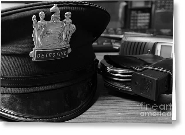 Law Enforcement - The Detective In Black And White Greeting Card