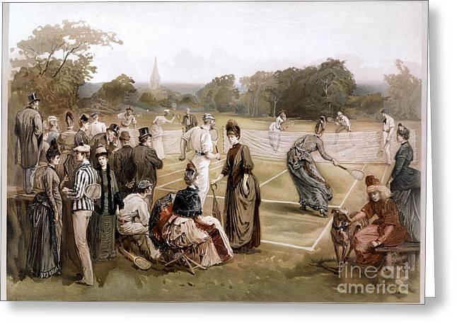Lawn Tennis 1887 Greeting Card by Granger