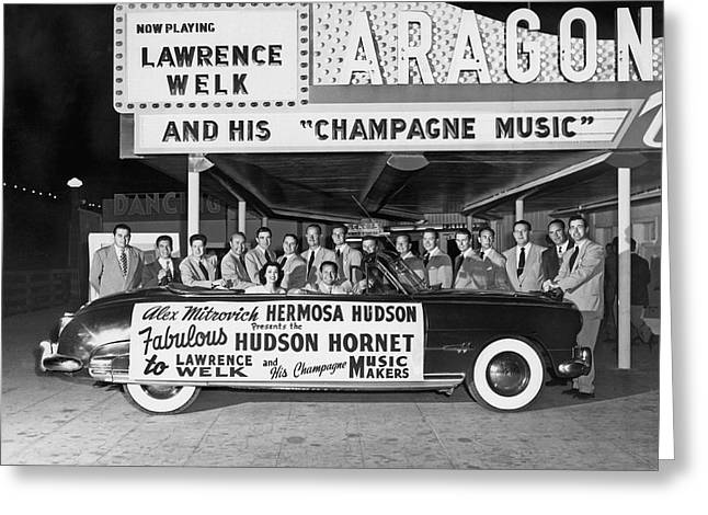 Lawrence Welk In His Hudson Greeting Card by Underwood Archives