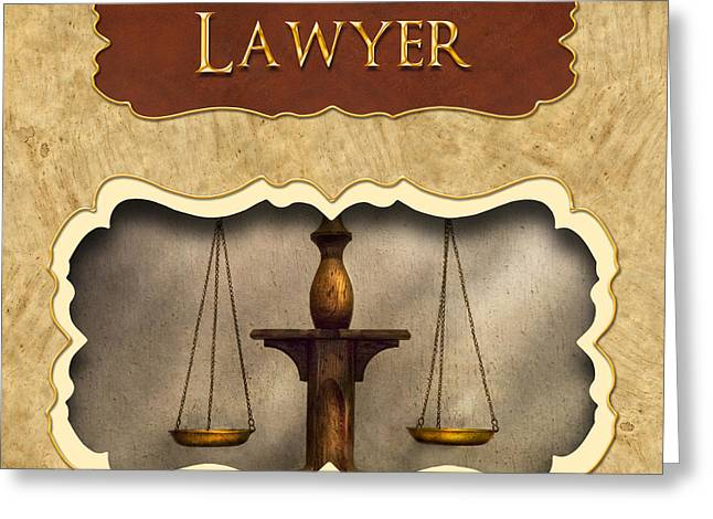Lawyer Button Greeting Card by Mike Savad
