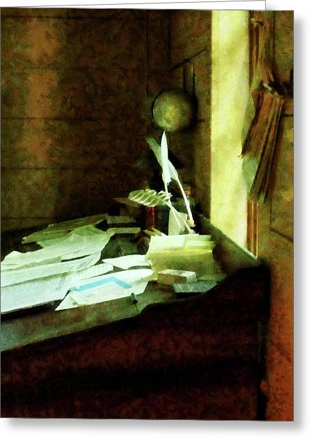Lawyers Greeting Cards - Lawyer - Desk With Quills and Papers Greeting Card by Susan Savad