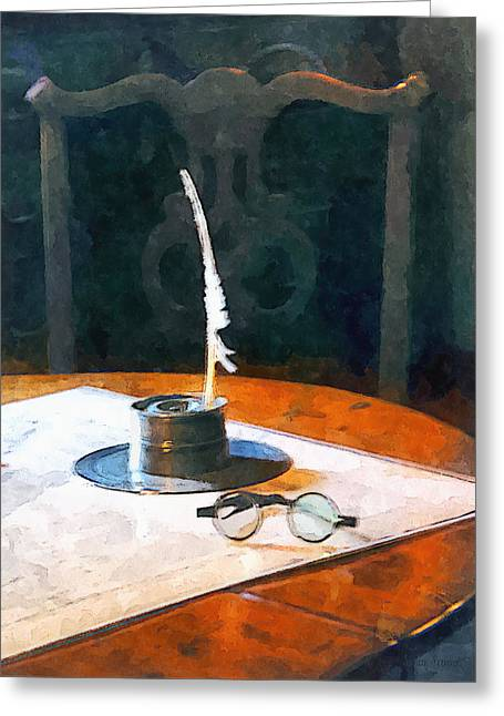 Lawyer - Quill And Spectacles Greeting Card by Susan Savad