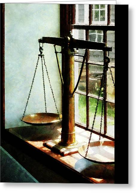 Lawyer - Scales Of Justice Greeting Card by Susan Savad