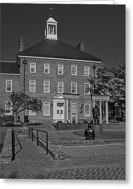 Lawyers Mall Bw Greeting Card by Susan Candelario