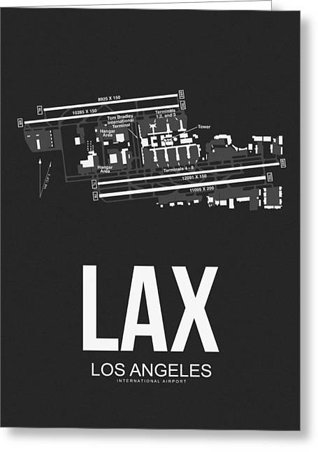 Lax Los Angeles Airport Poster 3 Greeting Card by Naxart Studio