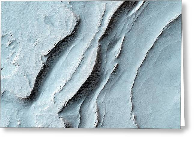 Layering In Spallanzani Crater Greeting Card