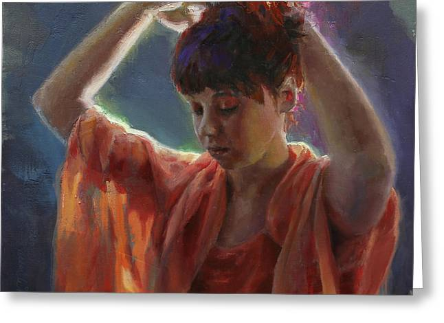 Layers Of Light - Self Portrait Greeting Card by Karen Whitworth