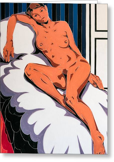 Laying Nude Greeting Card by Varvara Stylidou