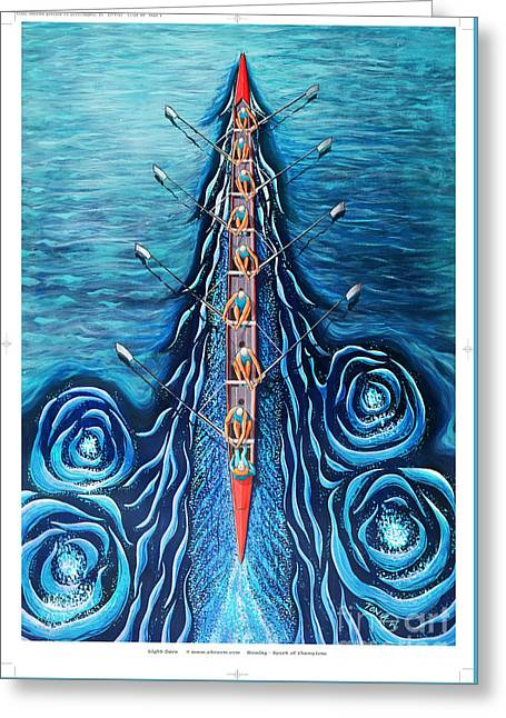 Blue Eight By O4rsom. Rowing Sport Of Champions Greeting Card