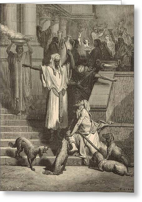 Lazarus And The Rich Man Greeting Card by Antique Engravings
