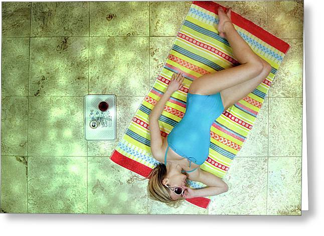 Lazing By Hockney\'s Swimming Pool Greeting Card