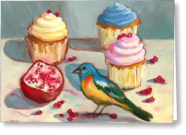Greeting Card featuring the painting Lazuli Bunting And Pomegranate Cupcakes by Susan Thomas