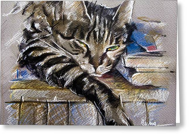 Lazy Cat Portrait - Drawing Greeting Card