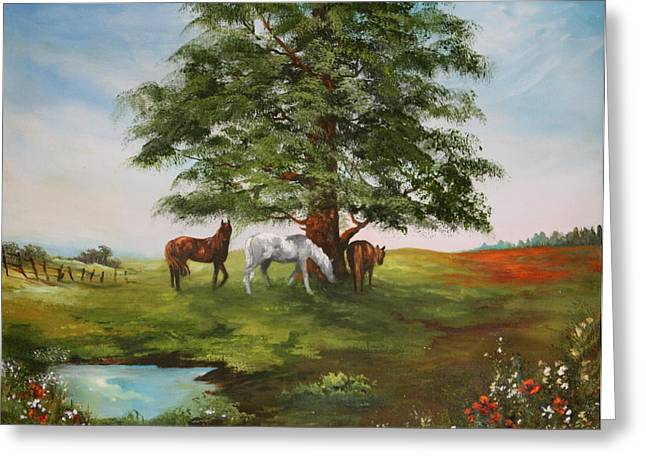 Greeting Card featuring the painting Lazy Days In Summer by Jean Walker