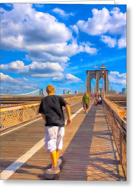 Lazy Days - Skateboarding On The Brooklyn Bridge Greeting Card by Mark E Tisdale