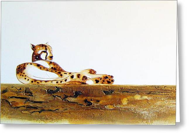 Lazy Dayz Cheetah - Original Artwork Greeting Card