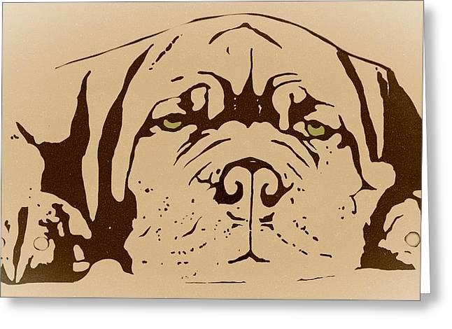Lazy Dog Greeting Card by Cindy Edwards