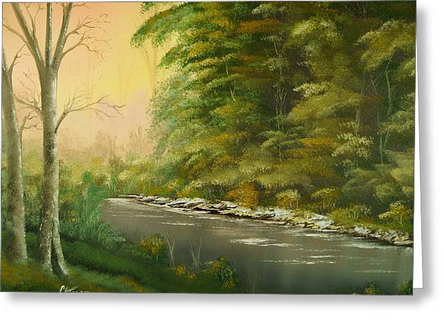 Greeting Card featuring the painting Lazy River by Chris Fraser