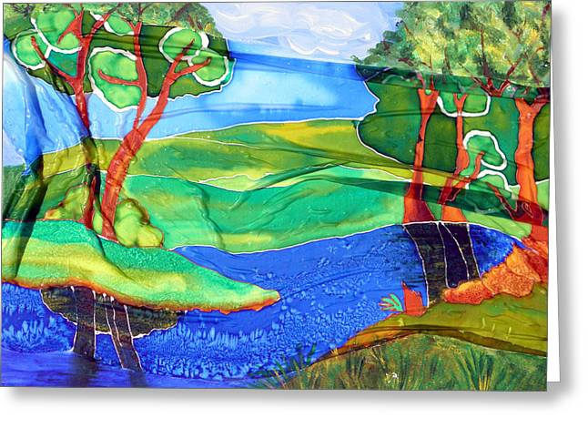 Greeting Card featuring the painting Lazy River Silk by Sandra Fox