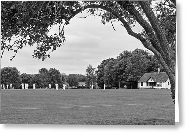 Lazy Sunday Afternoon - Cricket On The Village Green Bw Greeting Card