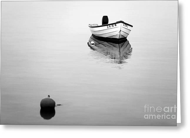 Lbi Boat Reflection Greeting Card by John Rizzuto