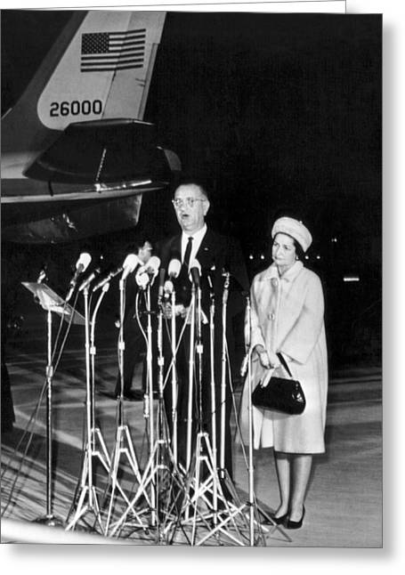Lbj Is New President Greeting Card by Underwood Archives