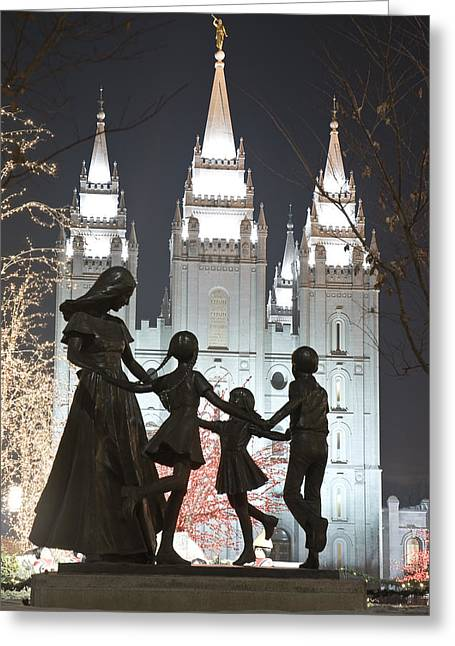 Lds Family And Temple Greeting Card by Mesha Zelkovich