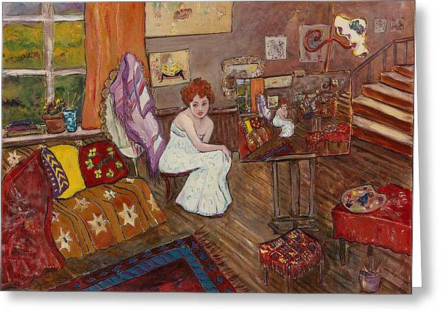 Greeting Card featuring the painting Le Atelier by Elaine Elliott