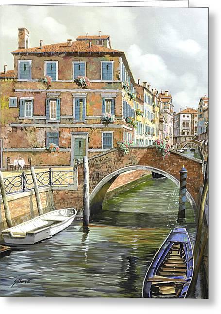 Le Barche Sotto Il Ponte Greeting Card by Guido Borelli