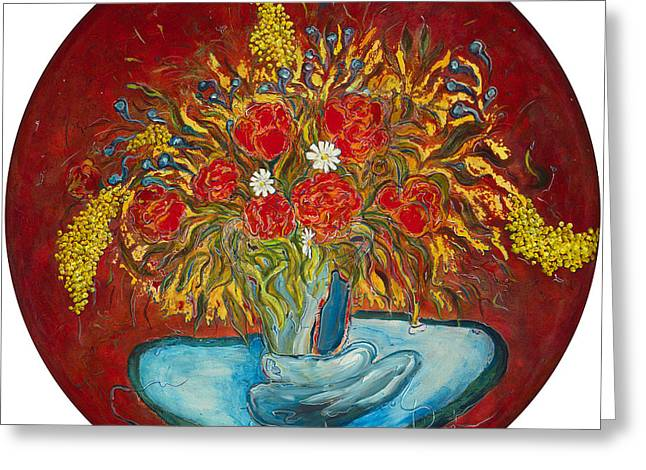 Le Bouquet Rouge - Original For Sale Greeting Card by Bernard RENOT