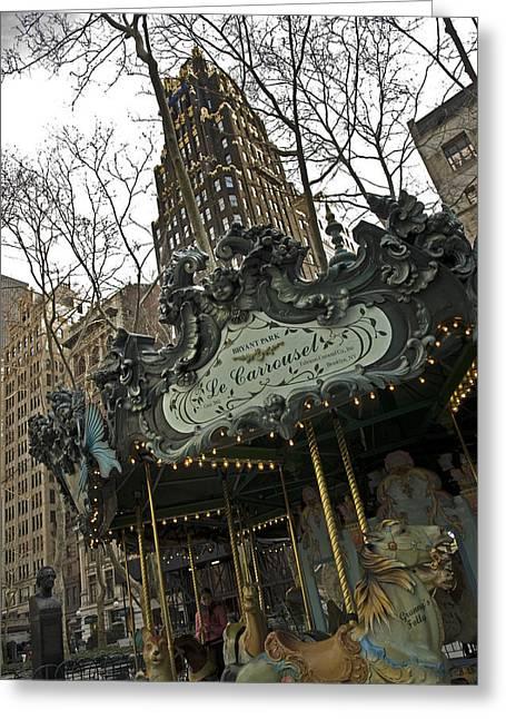 Le Carrousel Greeting Card by Alida Thorpe