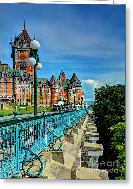 Le Chateau Frontenac Greeting Card by Mel Steinhauer