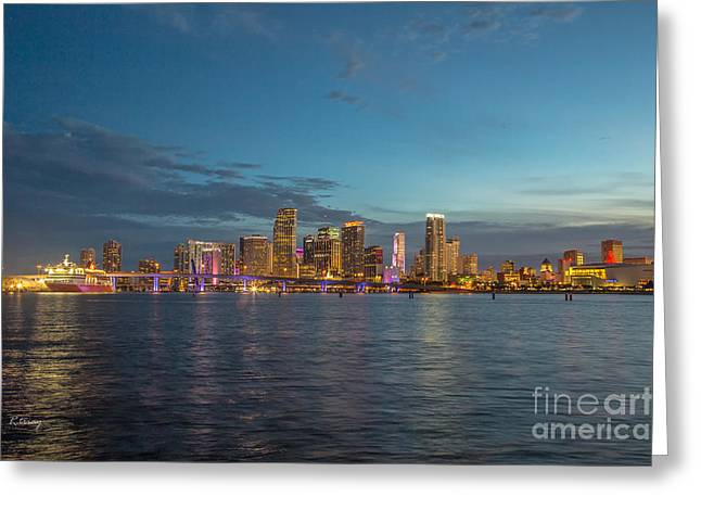 Le City-downtown Miami Greeting Card by Rene Triay Photography