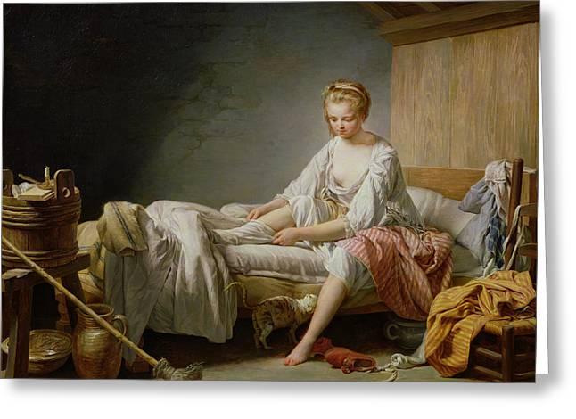 Le Lever De Fanchon Oil On Canvas Greeting Card by Nicolas-Bernard Lepicie