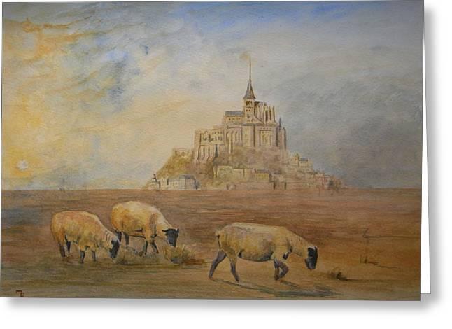 Le Mont Saint Michel Greeting Card by Juan  Bosco