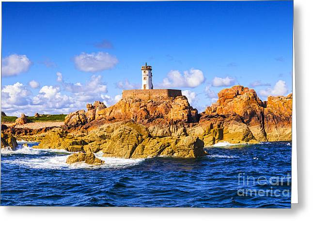 Le Phare Du Paon Lighthouse Brittany Ile De Brehat Greeting Card by Colin and Linda McKie